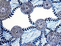 Progettazione floreale del fiore della pittura dell'acquerello della spazzola di bianco & del blu Fotografia Stock