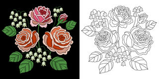 Progettazione floreale del ricamo illustrazione di stock