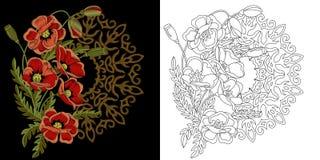 Progettazione floreale del ricamo illustrazione vettoriale