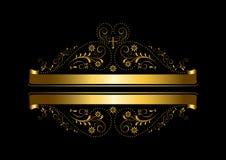 Progettazione floreale dell'oro con un incrocio ed i nastri Immagini Stock Libere da Diritti