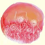 Progettazione floreale della pittura dell'acquerello di vettore Fotografia Stock Libera da Diritti