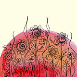 Progettazione floreale della pittura dell'acquerello di vettore Immagini Stock