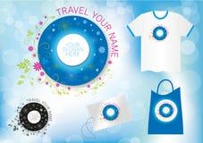 Progettazione floreale di logo di viaggio di turismo Fotografia Stock Libera da Diritti