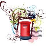 Progettazione floreale di vettore cassetta della posta/della posta Immagine Stock Libera da Diritti