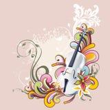 Progettazione floreale di vettore del violino Fotografia Stock Libera da Diritti
