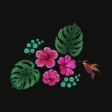 Progettazione floreale tropicale d'imitazione del modello del ricamo Ornamento di modo del punto di raso dell'illustrazione di ve Fotografia Stock Libera da Diritti
