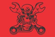 Progettazione fresca rossa della bici del nero di arti del cranio di arte di vettore illustrazione di stock