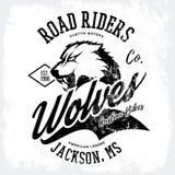 Progettazione furiosa americana d'annata di vettore della stampa del T del club dei motociclisti del lupo isolata su fondo bianco Fotografia Stock