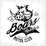 Progettazione furiosa americana d'annata di vettore della stampa del T del club dei motociclisti del verro su fondo bianco Fotografia Stock Libera da Diritti