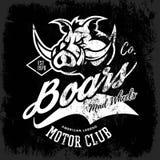 Progettazione furiosa americana d'annata di vettore della stampa del T del club dei motociclisti del verro su fondo nero Immagine Stock Libera da Diritti