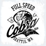 Progettazione furiosa americana d'annata di vettore della stampa del T del club dei motociclisti della cobra isolata su fondo bia Immagine Stock Libera da Diritti