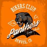 Progettazione furiosa americana d'annata di vettore della stampa del T del club dei motociclisti della pantera su fondo arancio Fotografia Stock Libera da Diritti