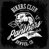 Progettazione furiosa americana d'annata di vettore della stampa del T del club dei motociclisti della pantera su fondo scuro Fotografia Stock Libera da Diritti