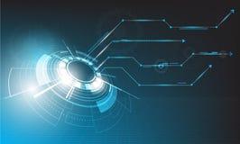 Progettazione futura di tecnologia di vettore su fondo blu immagini stock libere da diritti