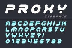 Progettazione futuristica decorativa della fonte di vettore, alfabeto, carattere, ty illustrazione di stock
