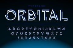 Progettazione futuristica della fonte dell'esposizione, alfabeto, serie di caratteri illustrazione vettoriale