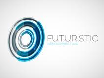 Progettazione futuristica di logo di affari del cerchio Fotografia Stock