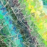 Progettazione geometrica blu gialla verde di struttura con le linee casuali tri Immagini Stock Libere da Diritti