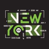 Progettazione geometrica della maglietta e dell'abito di vettore di New York, tipografia illustrazione di stock