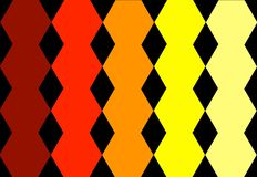 Progettazione geometrica gialla arancio rossa esagonale nel fondo nero Struttura astratta Può essere usato per progettazione dell immagine stock