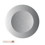 Progettazione geometrica moderna, arte minimalistic Forma in bianco e nero semplice nello stile di bauhaus Spirale concentrica di illustrazione vettoriale