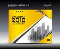 Progettazione gialla del calendario da scrivania 2018 della copertura, modello dell'aletta di filatoio royalty illustrazione gratis