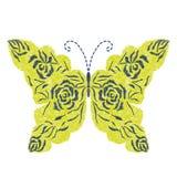 Progettazione gialla del materiale illustrativo del ricamo della farfalla per abbigliamento Fotografie Stock Libere da Diritti