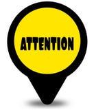 Progettazione gialla del puntatore di posizione con il messaggio di testo di ATTENZIONE Fotografia Stock