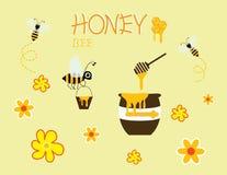 Progettazione gialla felice dell'icona del fiore di vettore del barattolo del fumetto dell'ape del miele Immagini Stock