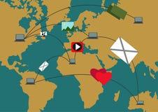 Progettazione globale di traffico Trasporto di comunicazione Rete Conne Fotografie Stock Libere da Diritti