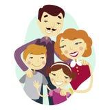 Progettazione grafica del fumetto felice variopinto della famiglia Fotografia Stock Libera da Diritti