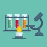 Progettazione grafica del laboratorio chimico, illustrazione di vettore Fotografia Stock Libera da Diritti