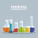 Progettazione grafica del laboratorio chimico, illustrazione di vettore Fotografia Stock