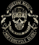 Progettazione grafica del motociclo del cranio del T Immagini Stock Libere da Diritti