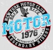 Progettazione grafica del motociclo della maglietta d'annata del manifesto illustrazione vettoriale