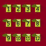 Progettazione grafica dell'icona mensile con ombra lunga Fotografie Stock Libere da Diritti