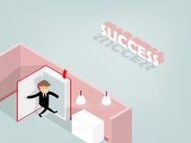 Progettazione grafica dell'uomo che apre il libro per andare successo della depressione, concetto del libro Immagine Stock Libera da Diritti