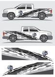 Progettazione grafica della decalcomania del veicolo e del camion Fotografie Stock