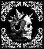 Progettazione grafica della maglietta d'annata del cranio Immagine Stock