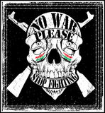Progettazione grafica della maglietta di Logo Emblem di guerra di arresto dell'uomo del cranio Fotografia Stock Libera da Diritti