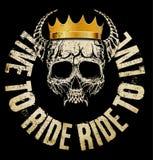 Progettazione grafica della maglietta di re Skull Fotografie Stock Libere da Diritti