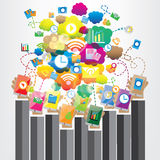 Progettazione grafica della rete di comunicazione illustrazione di stock