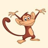 Progettazione grafica della scimmia del fumetto dell'icona dell'illustrazione sveglia di vettore fotografia stock