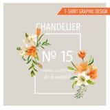 Progettazione grafica della struttura floreale - estate Lily Flowers - per la maglietta illustrazione vettoriale