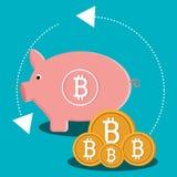 Progettazione grafica delle icone dei fondi virtuali Bitcoin Fotografia Stock Libera da Diritti