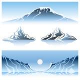 Progettazione grafica delle montagne di inverno Fotografia Stock Libera da Diritti