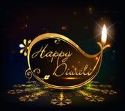 Progettazione grafica di Diwali, diya sul fondo dorato di Diwali illustrazione vettoriale
