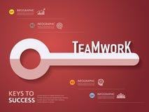 Progettazione grafica di informazioni, modello, chiave a successo, lavoro di squadra Immagine Stock Libera da Diritti