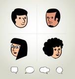 Progettazione grafica di informazioni, uomo d'affari, fumetti icona, testa Fotografia Stock