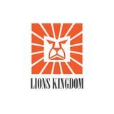 Progettazione grafica di logo dell'icona della testa del leone illustrazione di stock